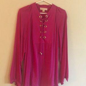 Michael Kors fuchsia blouse long sleeve